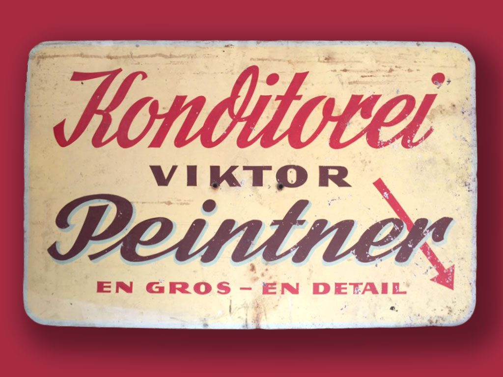 Schild der Konditorei Peintner Tradition